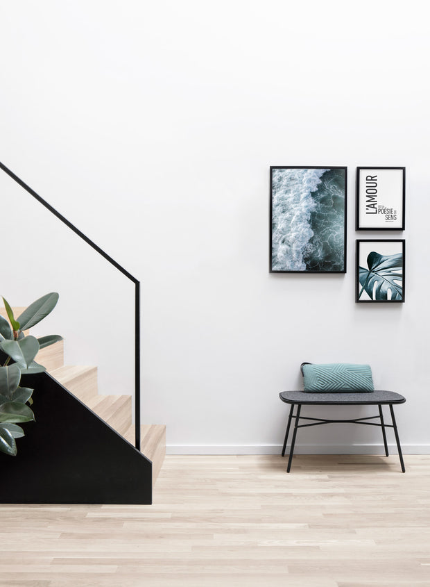 Modern minimalist poster by Opposite Wall with Emerald waters photography - Living room with a design staircase
