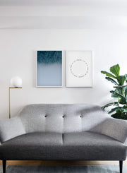 Minimalist poster by Opposite Wall with misty Winter Forest photography - Living room couch