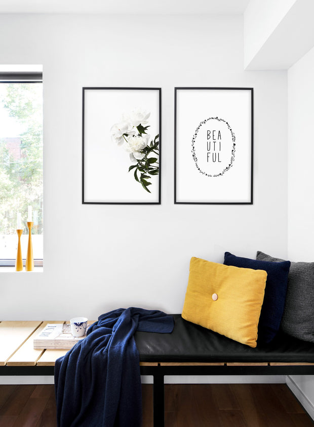 Modern minimalist art print by Opposite Wall with trendy design of the word Beautiful - Living room