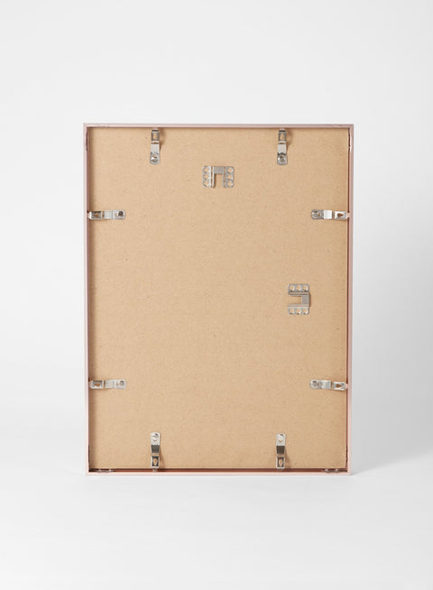 Scandinavian rose gold aluminum metal frame by Opposite Wall - Back of the frame and metal fasteners