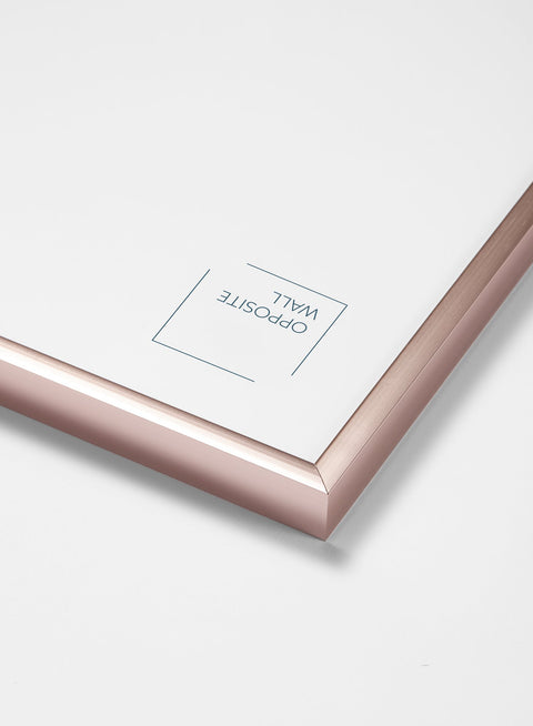 Scandinavian rose gold aluminum metal frame by Opposite Wall - Corner of the frame - Size 12x16 inches