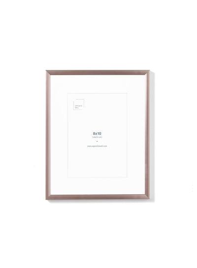 Scandinavian rose gold aluminum metal frame by Opposite Wall - Front of the frame - Size 8x10