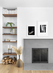 minimalist art print by Opposite Wall with trendy design of brushstrokes - Living room with a fireplace