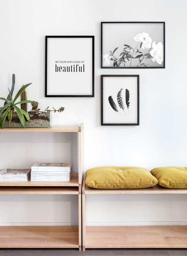 Scandinavian poster with black and white graphic typography design of Be your own kind of beautiful - Cozy living room yellow nook