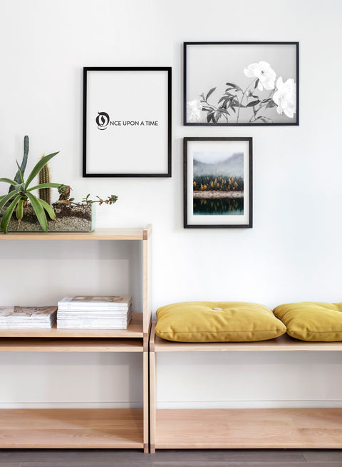 Modern minimalist poster by Opposite Wall with Sweetness peony still life black and white photography - Living room wall gallery