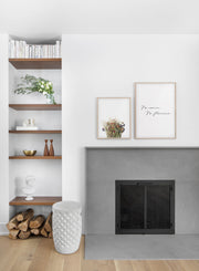 Spring bouquet - Sand desert modern minimalist photography poster by Opposite Wall - Living room with fireplace