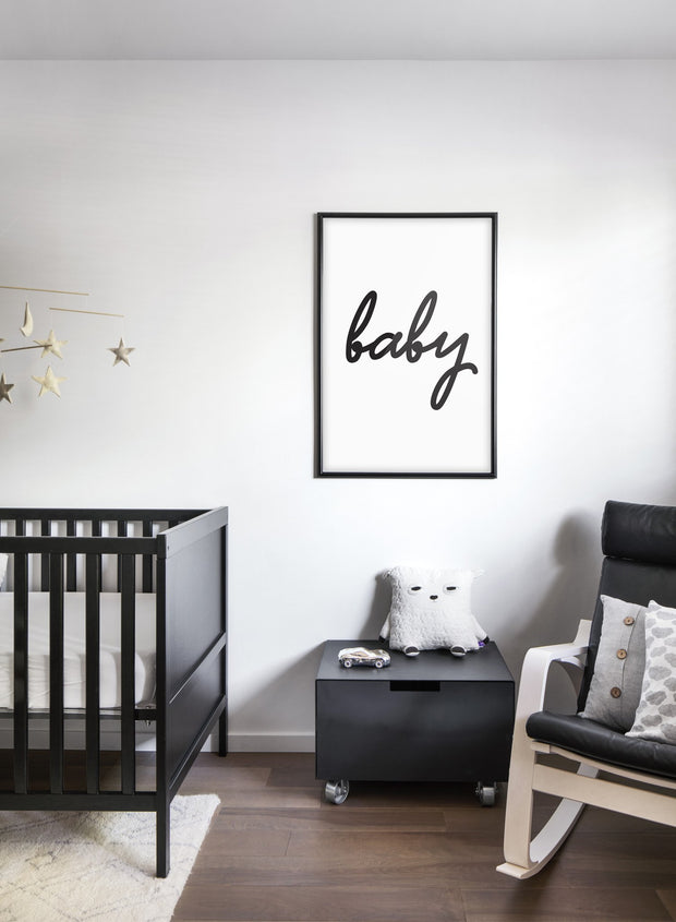 Scandinavian poster with black and white graphic typography design of Baby - Baby nursery room