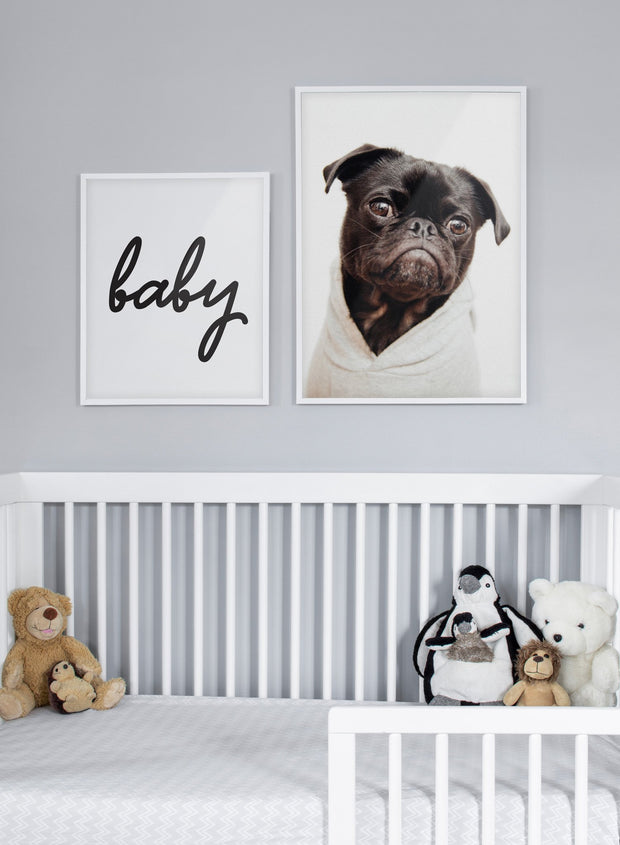 Modern minimalist poster by Opposite Wall with a photo of a Pug dog - kids collection - nursery