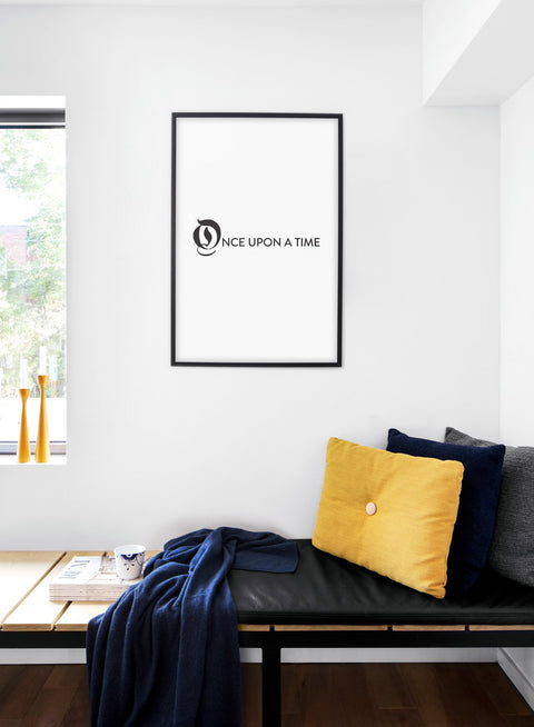 Scandinavian poster with black and white graphic typography design of Once upon a time - Cozy living room nook