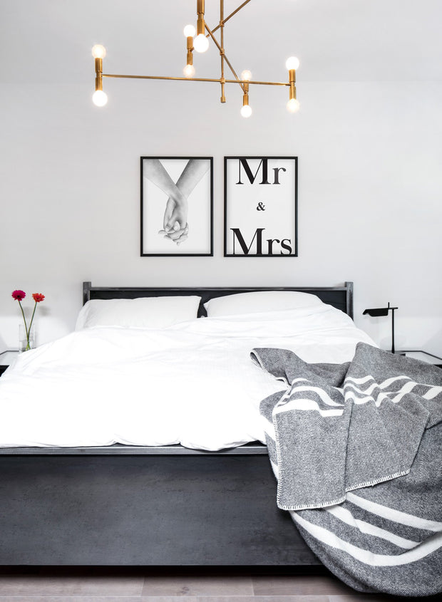 Scandinavian poster with black and white graphic typography design of Mr & Mrs - Gallery Wall Duo - Romantic bedroom