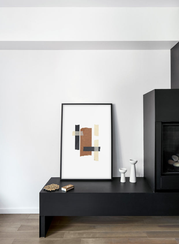 Scandinavian poster by Opposite Wall with hand-made art design abstract Collage No.1 - Cozy living room with black fireplace