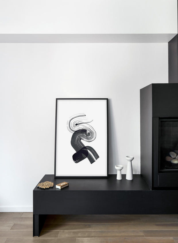 Scandinavian poster by Opposite Wall with hand-made art design Black Curves - Cozy living room with black fireplace