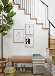 Scandinavian poster by Opposite Wall with black and white graphic typography design of the letter A - Hallway with staircase