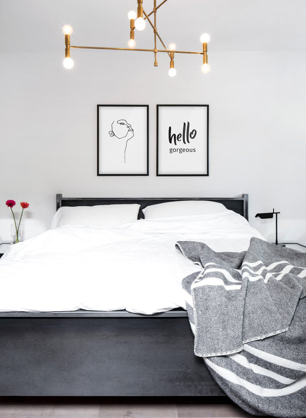 Scandinavian poster with black and white graphic typography design of Hello Gorgeous - Gallery wall Duo - White bedroom