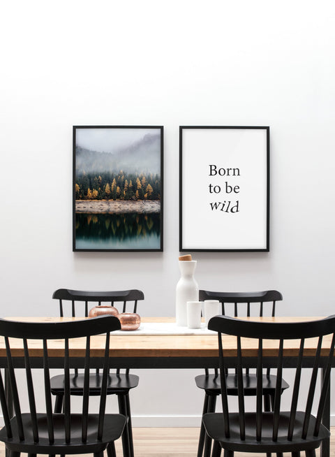 Stunning reflections - Misty lake and mountain modern minimalist photography poster by Opposite Wall - Gallery Wall Duo - Dining room