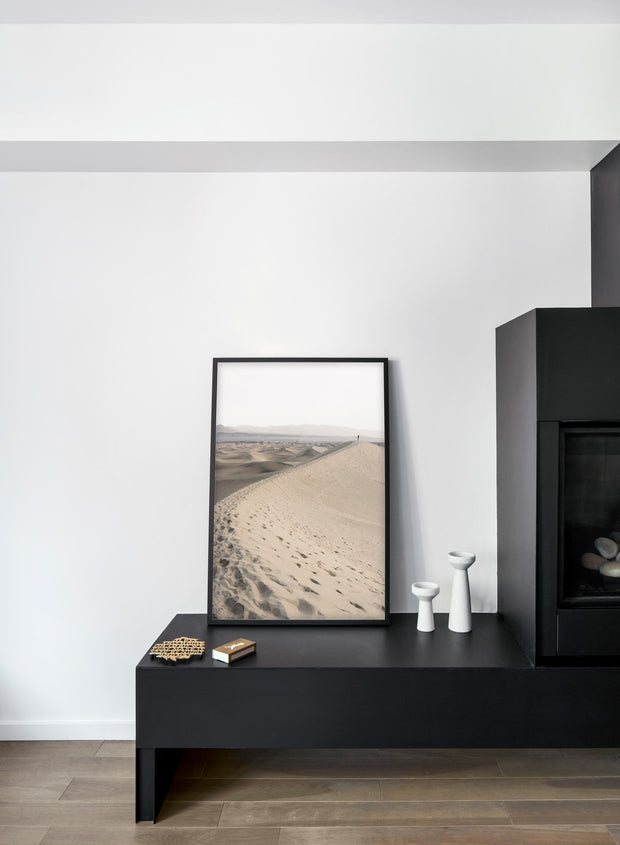 Solitude in the Desert - Sand desert modern minimalist photography poster by Opposite Wall - Living room with fireplace
