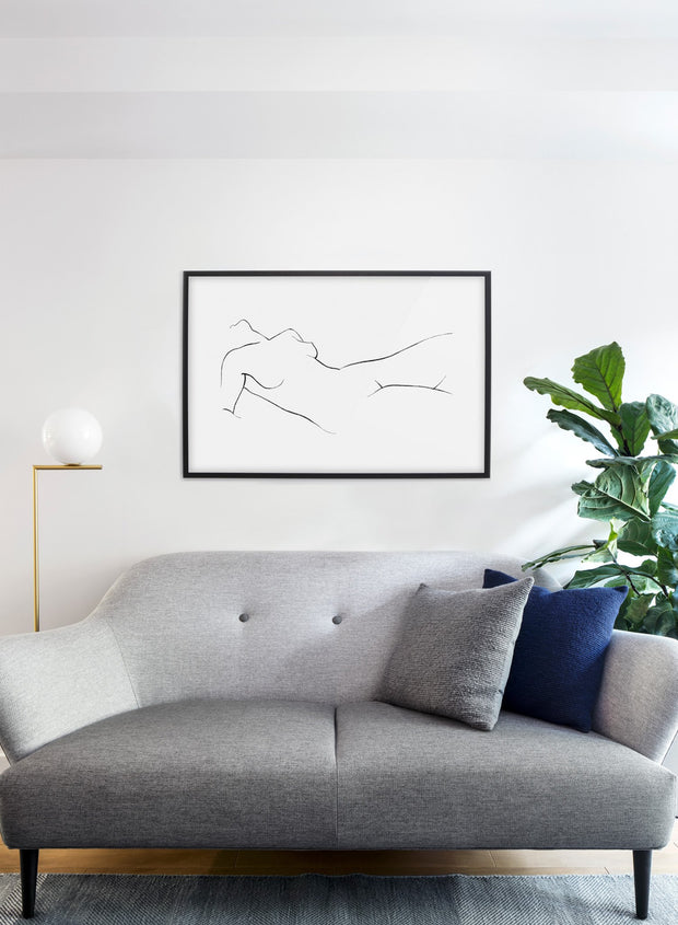 Modern minimalist poster by Opposite Wall with abstract illustration of Nude Landscape - Living room