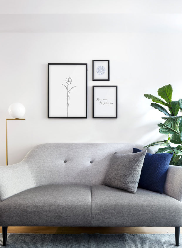Modern minimalist poster by Opposite Wall with abstract illustration of Tulip - Gallery wall trio - Living room