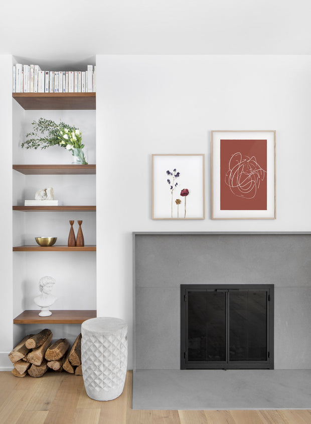 minimalist art print by Opposite Wall with trendy design of Rust swirls - Living room with a fireplace