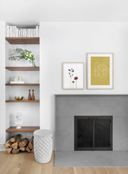 minimalist art print by Opposite Wall with trendy design of Sand swirls - Living room with a fireplace