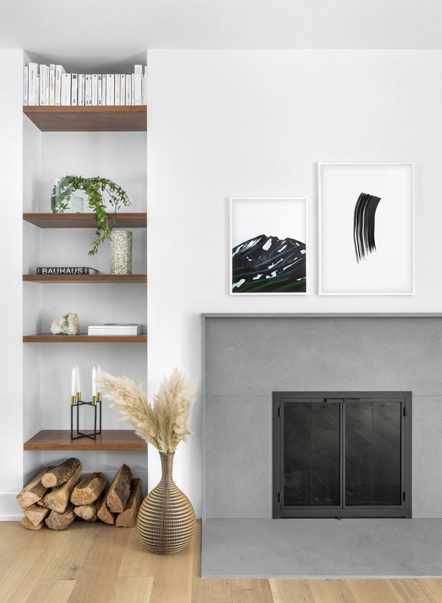 Scandinavian poster by Opposite Wall with hand-made art design Brushstroke - Cozy living room with a fireplace