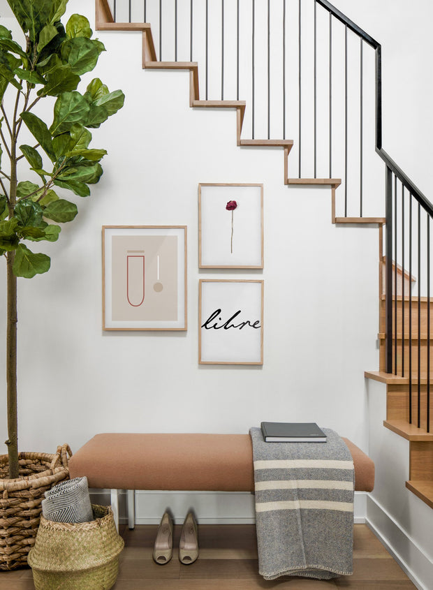 minimalist art print by Opposite Wall with trendy design of Experiment in sepia - Hall way with a staircase