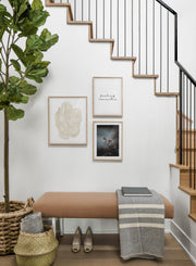 Scandinavian poster by Opposite Wall with black and white graphic typography design of feeling romantic - Hallway with a staircase