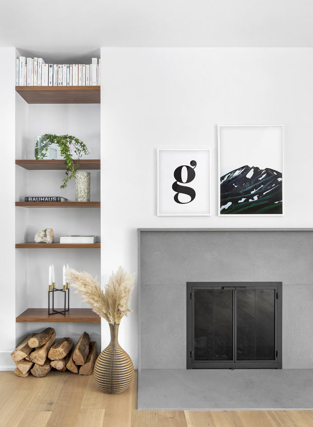 Scandinavian poster by Opposite Wall with black and white graphic typography design of the letter g - Living room with a fireplace