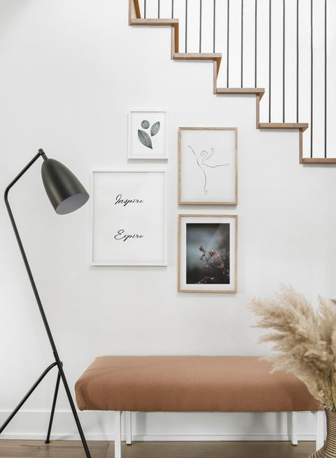 Scandinavian poster by Opposite Wall with black and white graphic typography design of Inspire Expire - Hallway with a stairecase