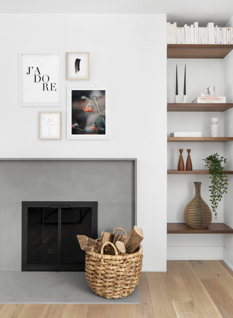 Scandinavian poster by Opposite Wall with black and white graphic typography design of J'adore - Living room with a fireplace