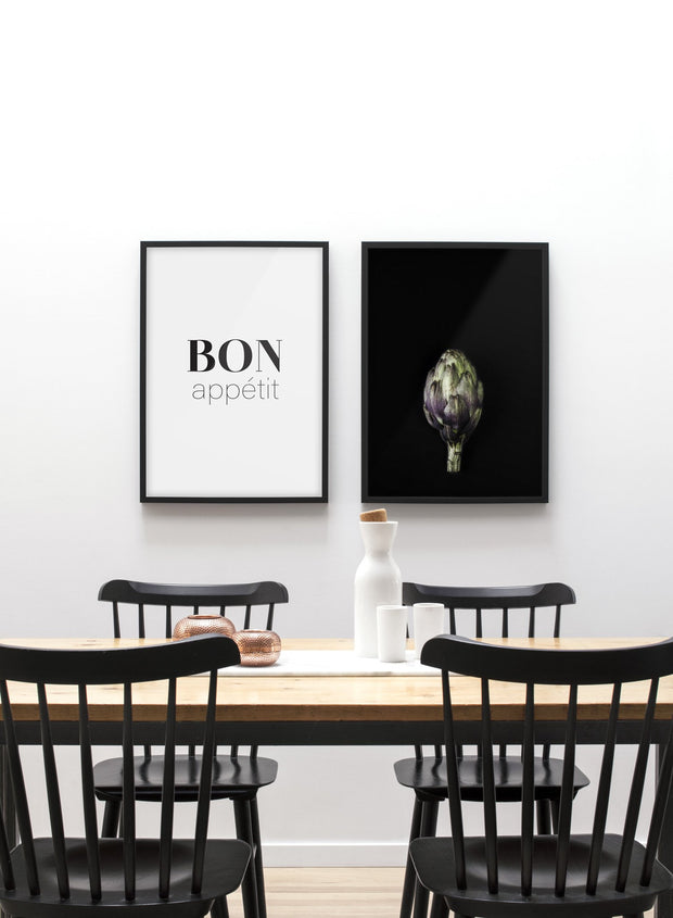 Scandinavian poster by Opposite Wall with black and white graphic typography design of Bon Appétit - Dining room
