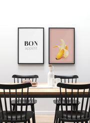 Modern minimalist poster by Opposite Wall with a photo of a banana on a pink background - kids collection and food collection