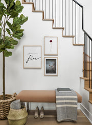 Scandinavian poster by Opposite Wall with black and white graphic typography design of Amour Sans Fin - Hallway with a staircase