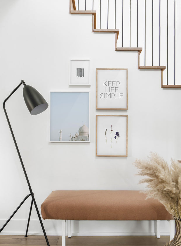 Scandinavian poster by Opposite Wall with black and white graphic typography design of Keep Life Simple - Hallway with a staircase