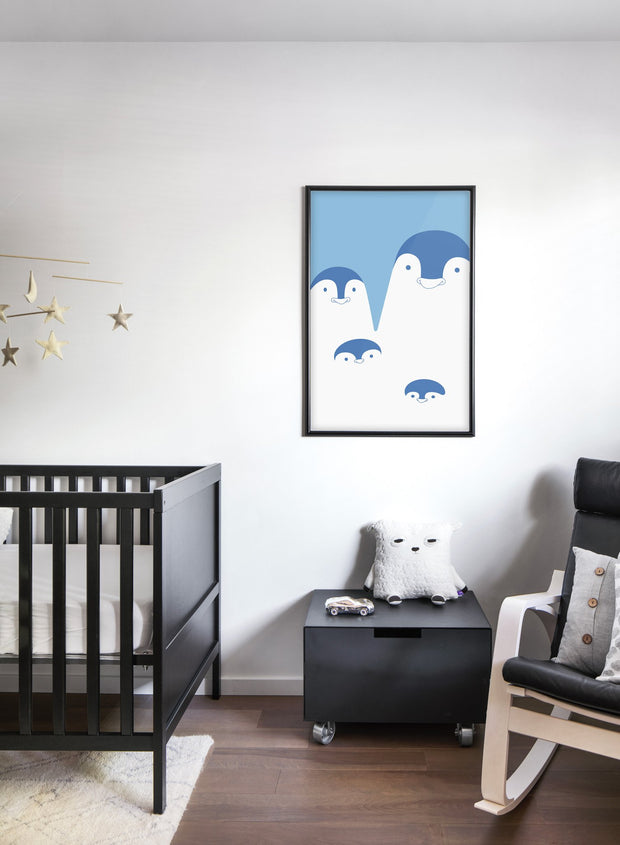 Modern minimalist poster by Opposite Wall with an illustration of a penguin family - kids collection - nursery