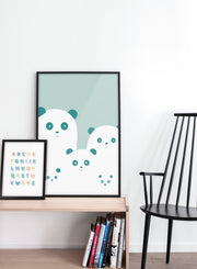 Modern minimalist poster by Opposite Wall with an illustration of a panda family - kids collection