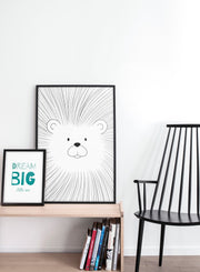 Modern minimalist poster by Opposite Wall with an illustration of a lion - kids collection