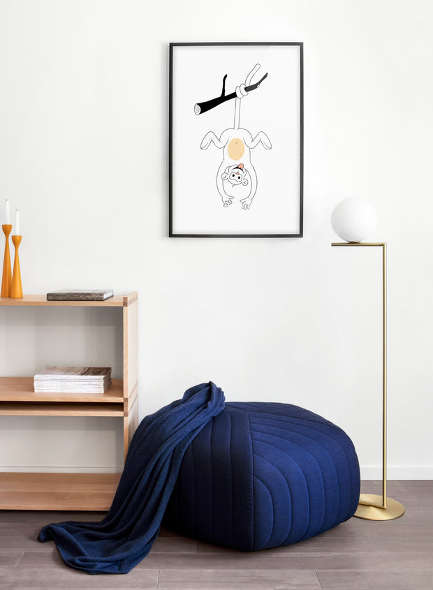 Modern minimalist poster by Opposite Wall with an illustration of a monkey - kids collection