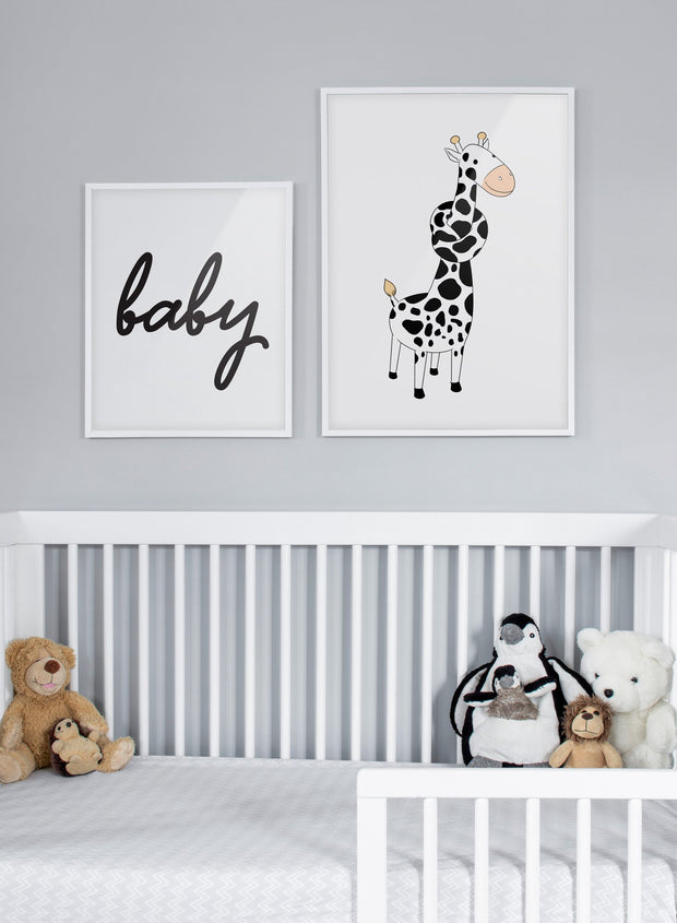 Modern minimalist poster by Opposite Wall with an illustration of a giraffe  - kids collection - nursery