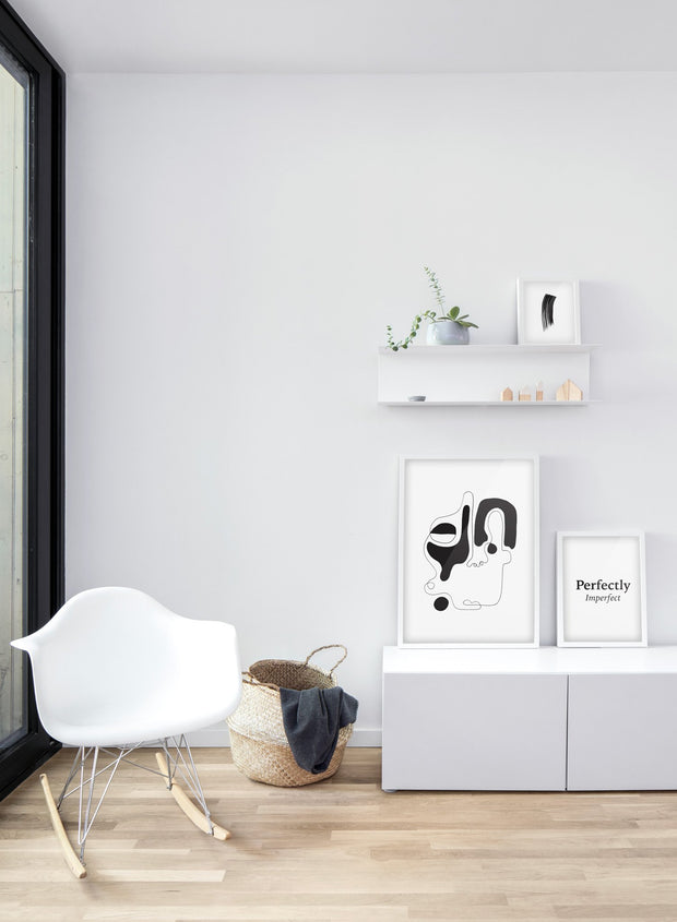 Scandinavian poster by Opposite Wall with abstract line art illustration - Trio - Living room
