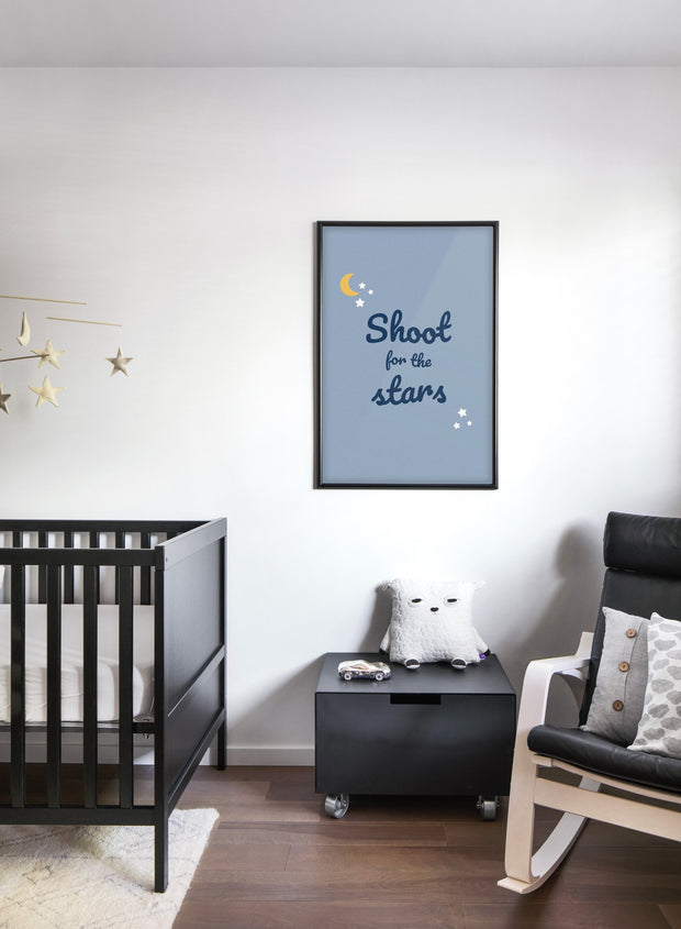 Modern minimalist poster by Opposite Wall with shoot for the stars quote - kids collection - nursery