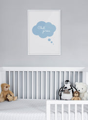Modern minimalist poster by Opposite Wall with a french quote: Chut je rêve - kids collection - nursery