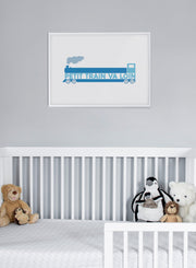 Modern minimalist poster by Opposite Wall with an illustration of a train - kids collection - nursery