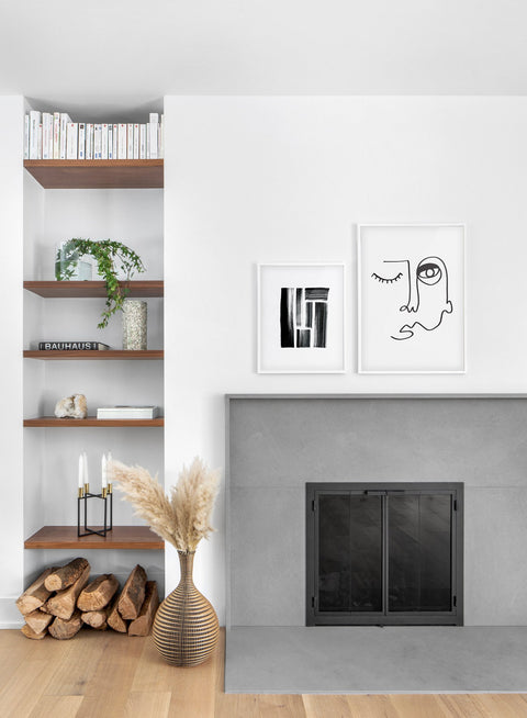 Scandinavian poster by Opposite Wall with abstract line art illustration - Duo - Fireplace