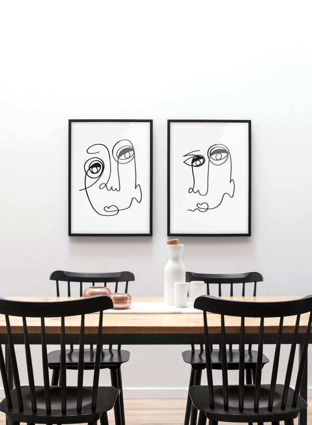 Scandinavian poster by Opposite Wall with abstract line art illustration - Duo - Dining room