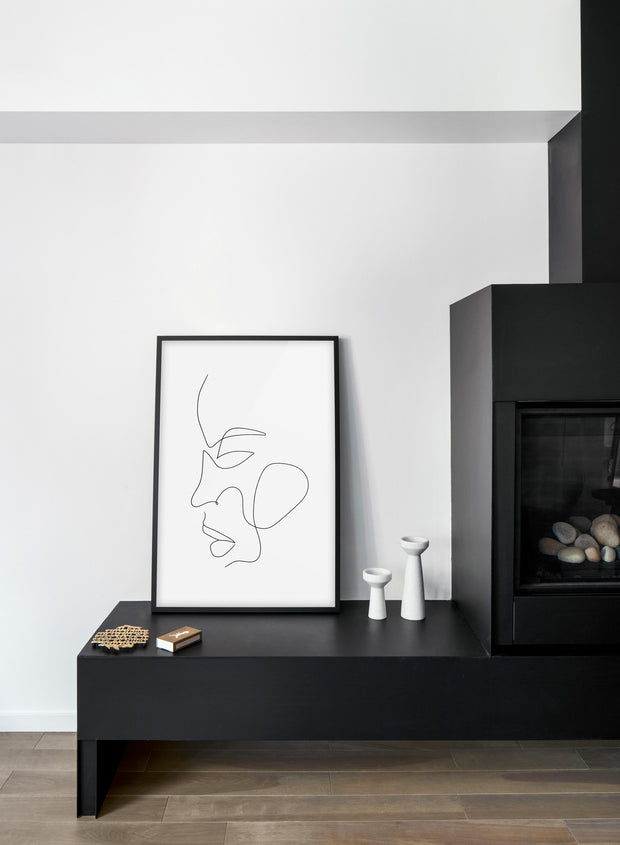Scandinavian poster by Opposite Wall with abstract line art illustration - Fireplace