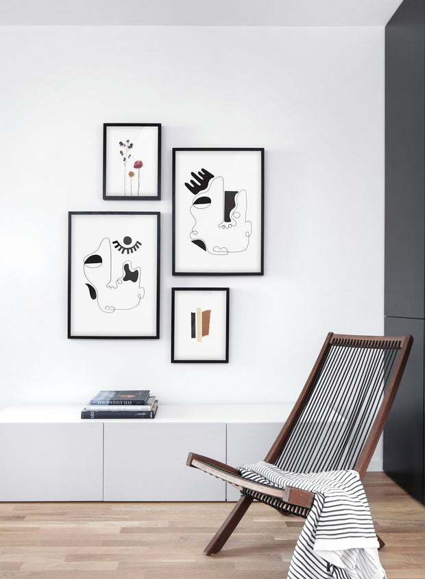 Scandinavian poster by Opposite Wall with abstract line art illustration - Living room gallery wall