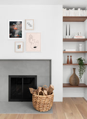 Scandinavian poster by Opposite Wall with abstract line art illustration - Gallery Wall - Fireplace