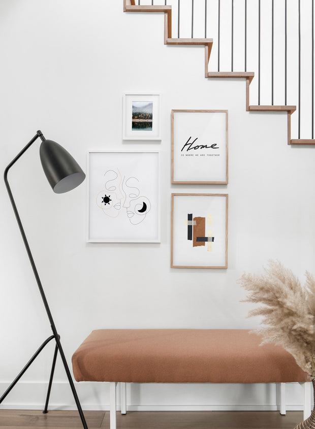 Scandinavian poster by Opposite Wall with abstract line art illustration - Gallery wall - Staircase