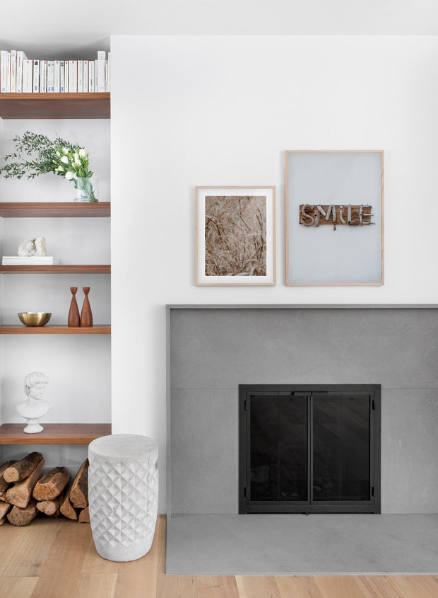 Smile modern minimalist photography poster by Opposite Wall - Living room with a fireplace